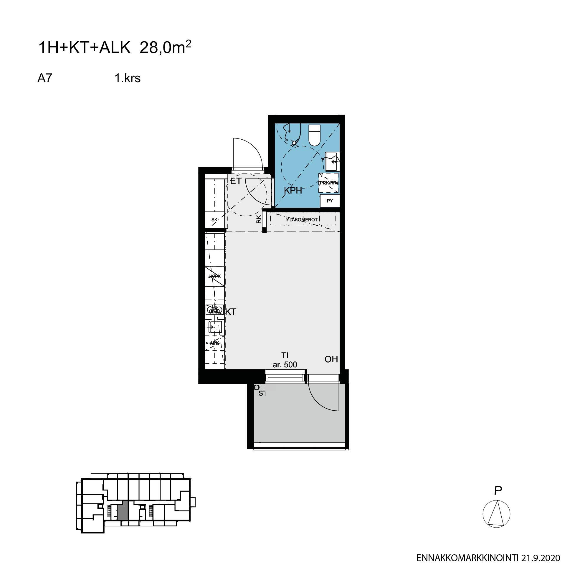Asunto Oy Tampereen Hatanpään Keisarinna - Hatanpään puistokuja 25, 33900, Tampere - 1H+KT / 28.0m2