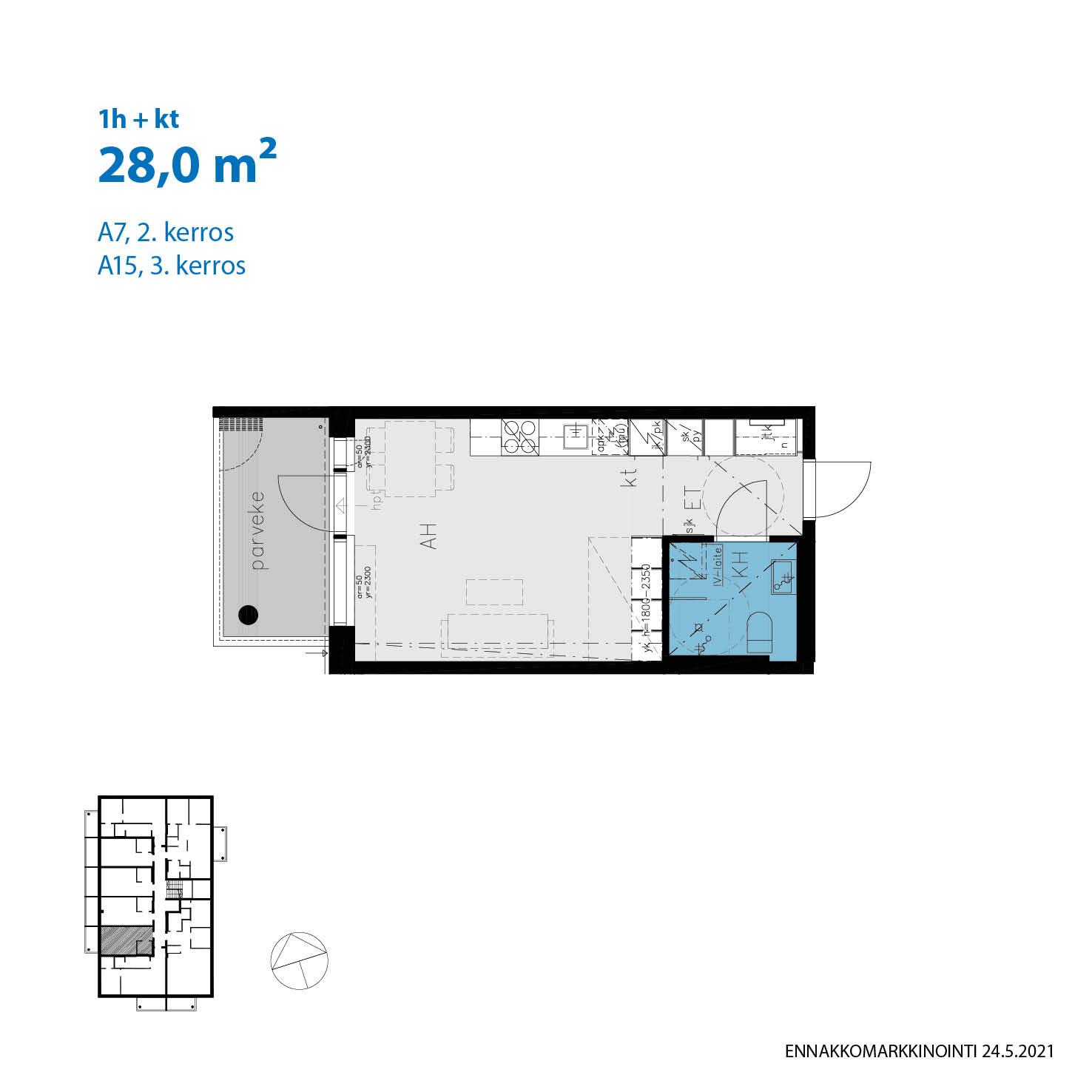 A7, 28.0 m<sup>2</sup>, 1h+kt