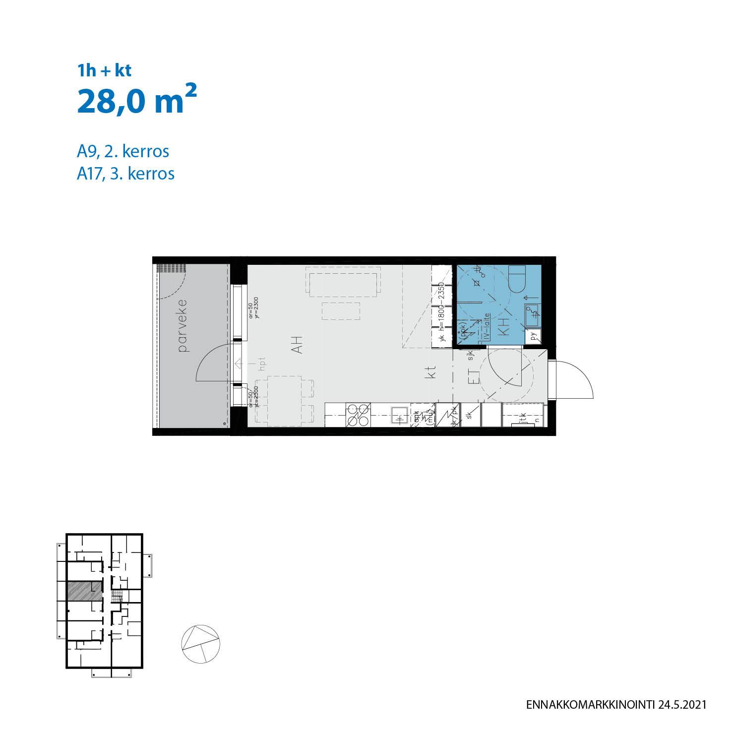Asunto Oy Turun Gränsbackan Volter - Pryssinkatu 12, 20320, Turku - 1h+kt / 28.0m2