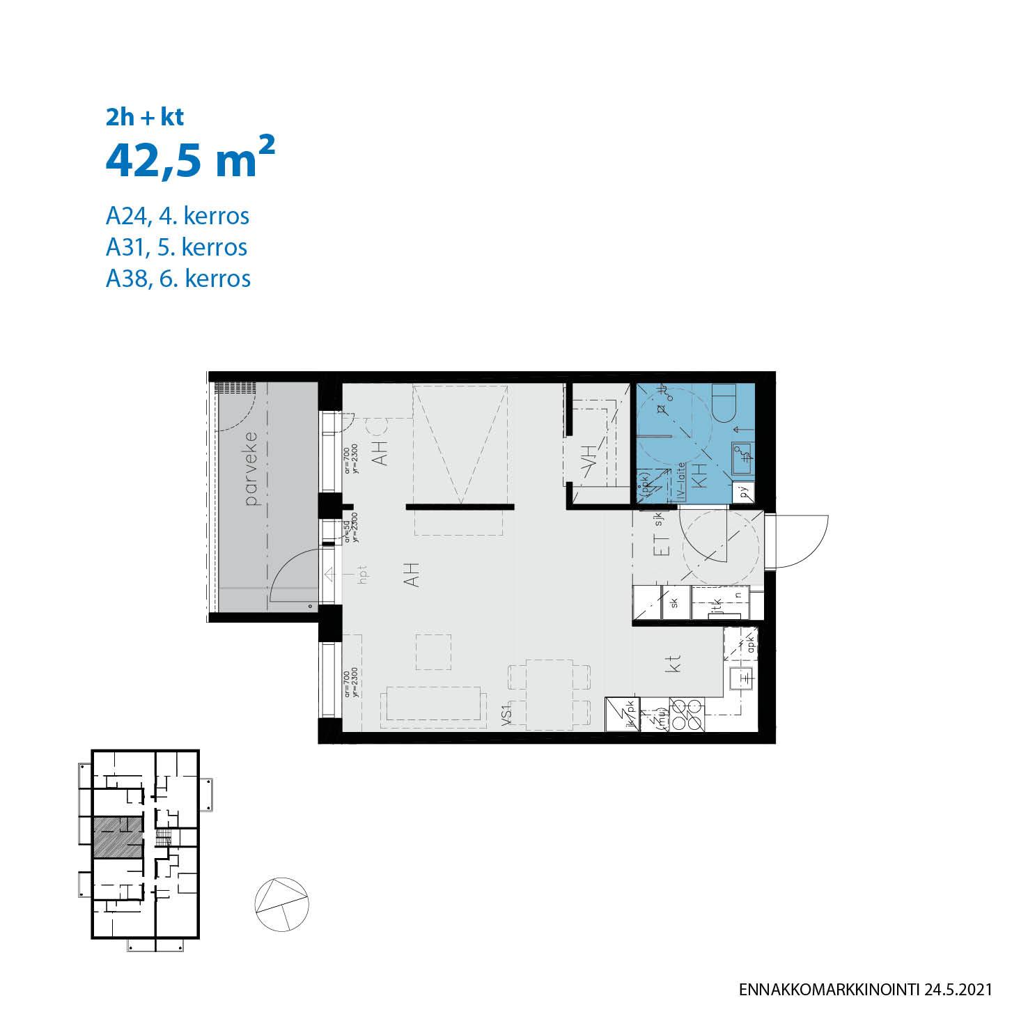 A38, 42.5 m<sup>2</sup>, 2h+kt