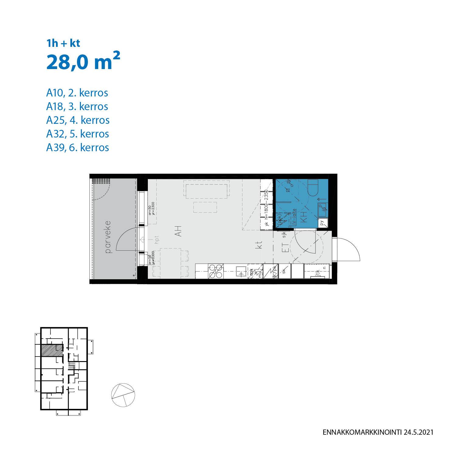 A39, 28.0 m<sup>2</sup>, 1h+kt