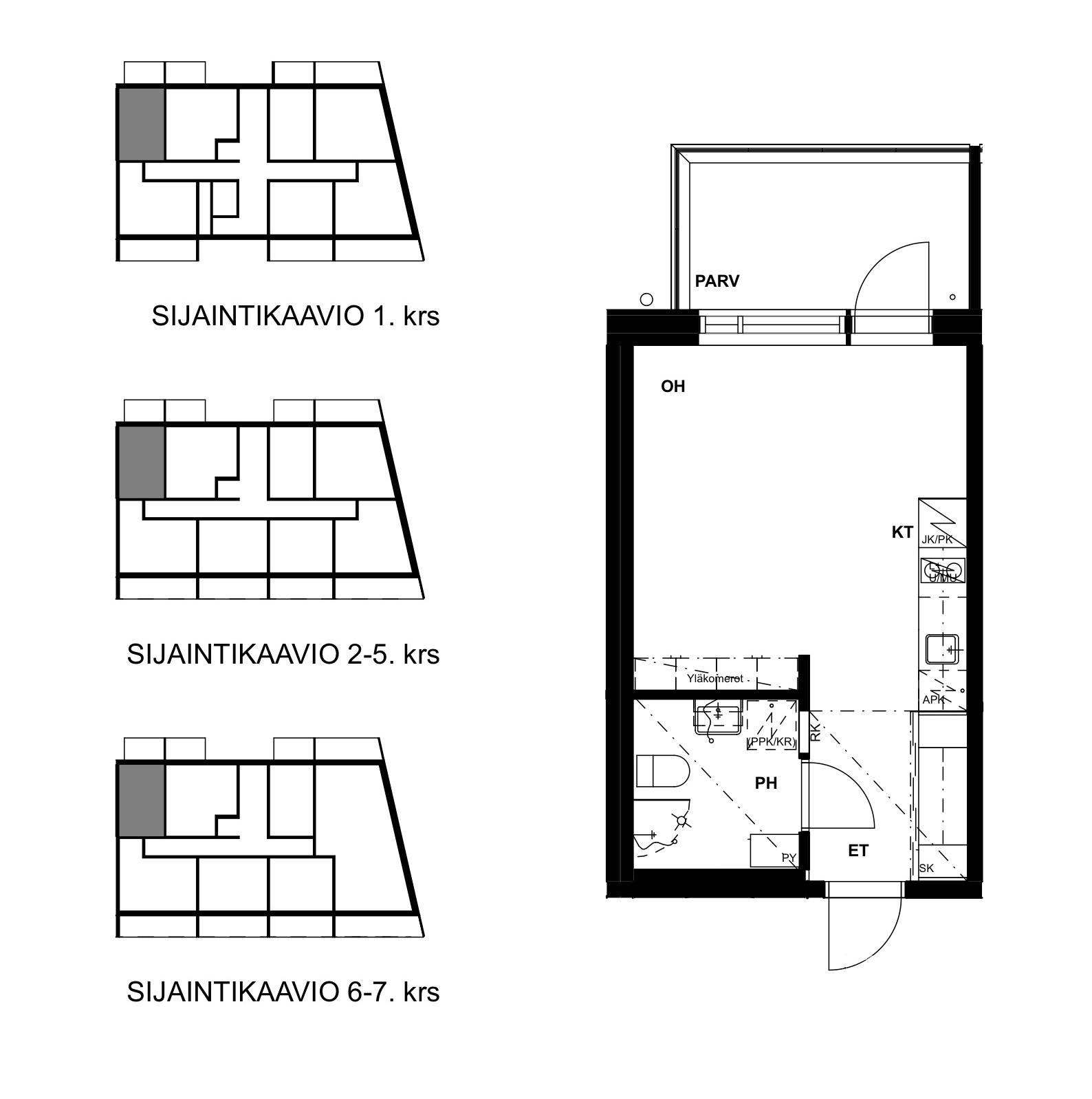 Asunto Oy Tampereen Hatanpään Kreivi - Hatanpään puistokuja 27, 33900, Tampere - 1H+KT / 27.0m2