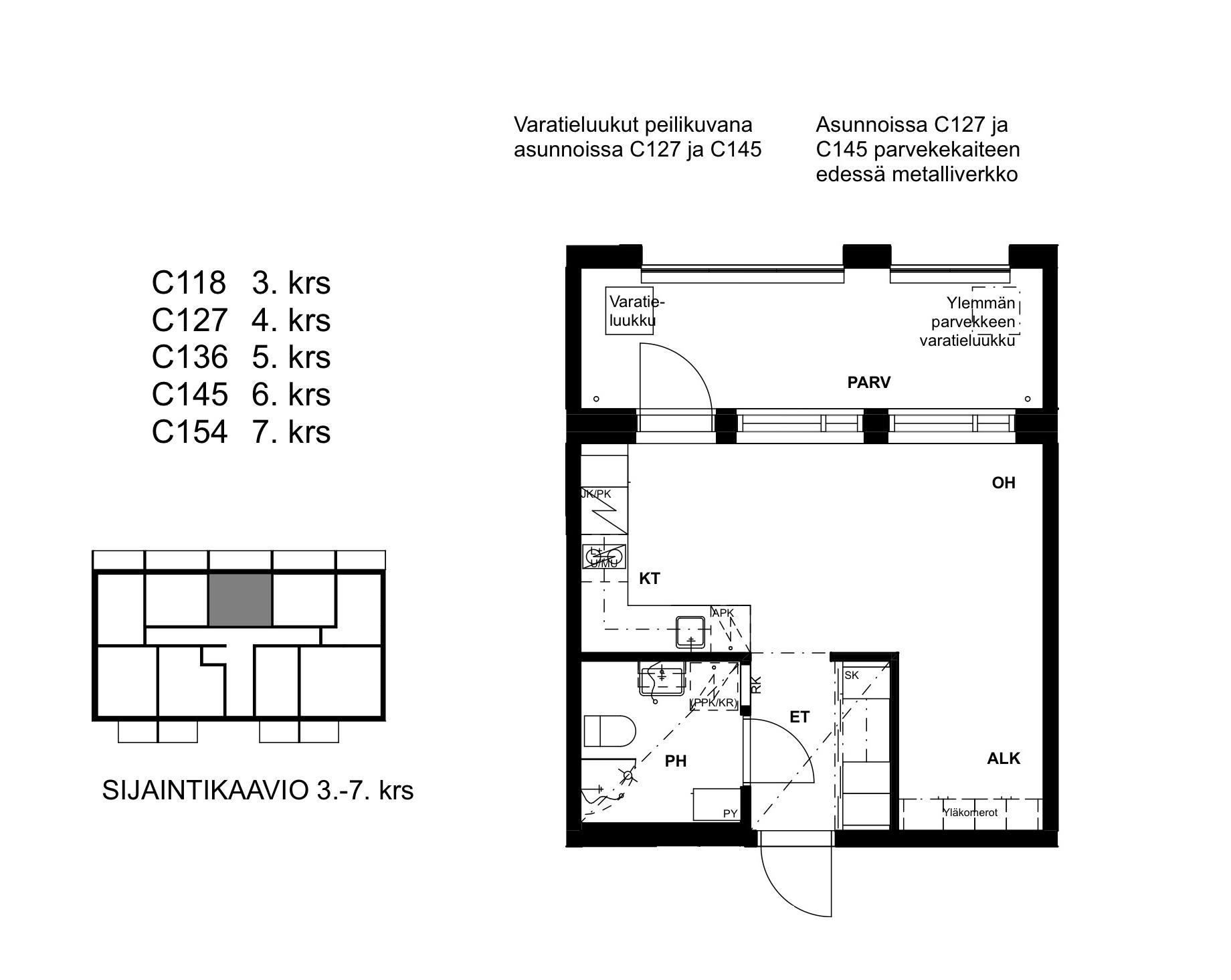 C127, 28.5 m<sup>2</sup>, 1H+ALK+KT