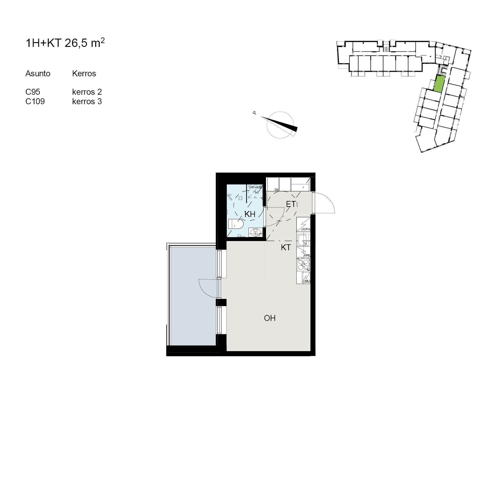 Asunto Oy Tampereen Tikkutehtaan Loimu - Tiporaitti 9, 33250, Tampere - 1H+KT / 26.5m2