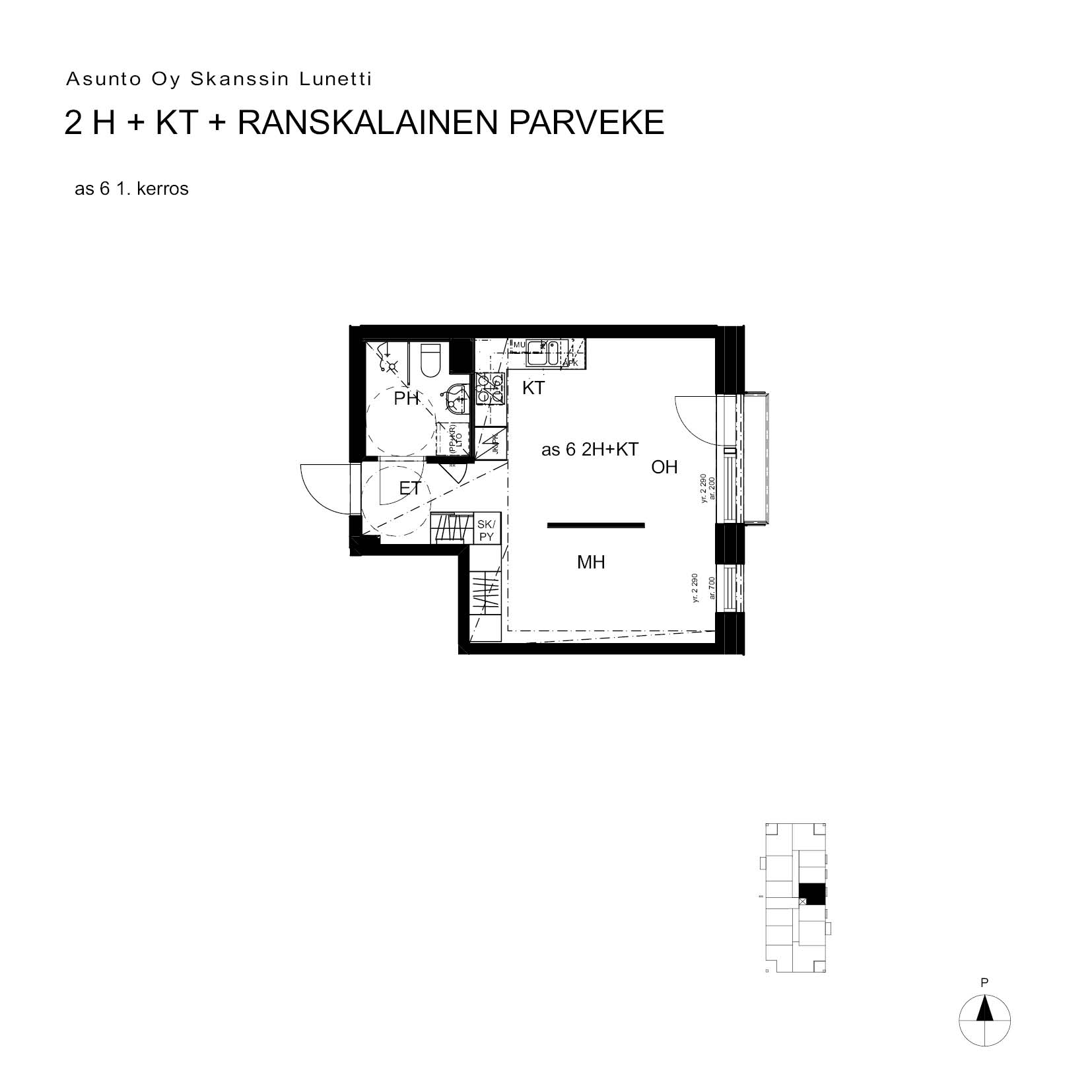 Asunto Oy Turun Skanssin Lunetti - Skanssinkatu 36, 20730, Turku - 2H+KT+ransk.p. / 33.5m2