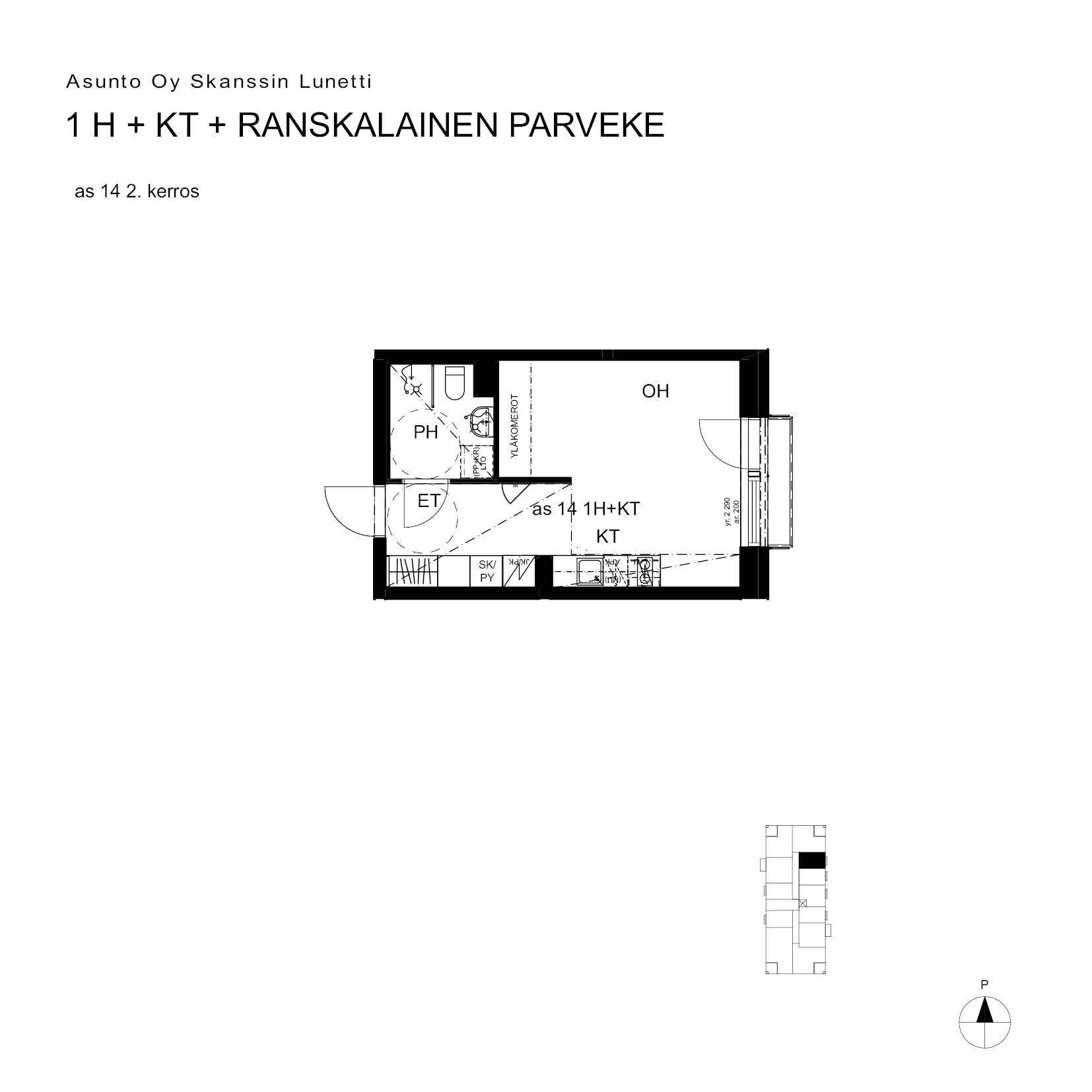 Asunto Oy Turun Skanssin Lunetti - Skanssinkatu 36, 20730, Turku - 1H+KT+ransk.p. / 27.5m2