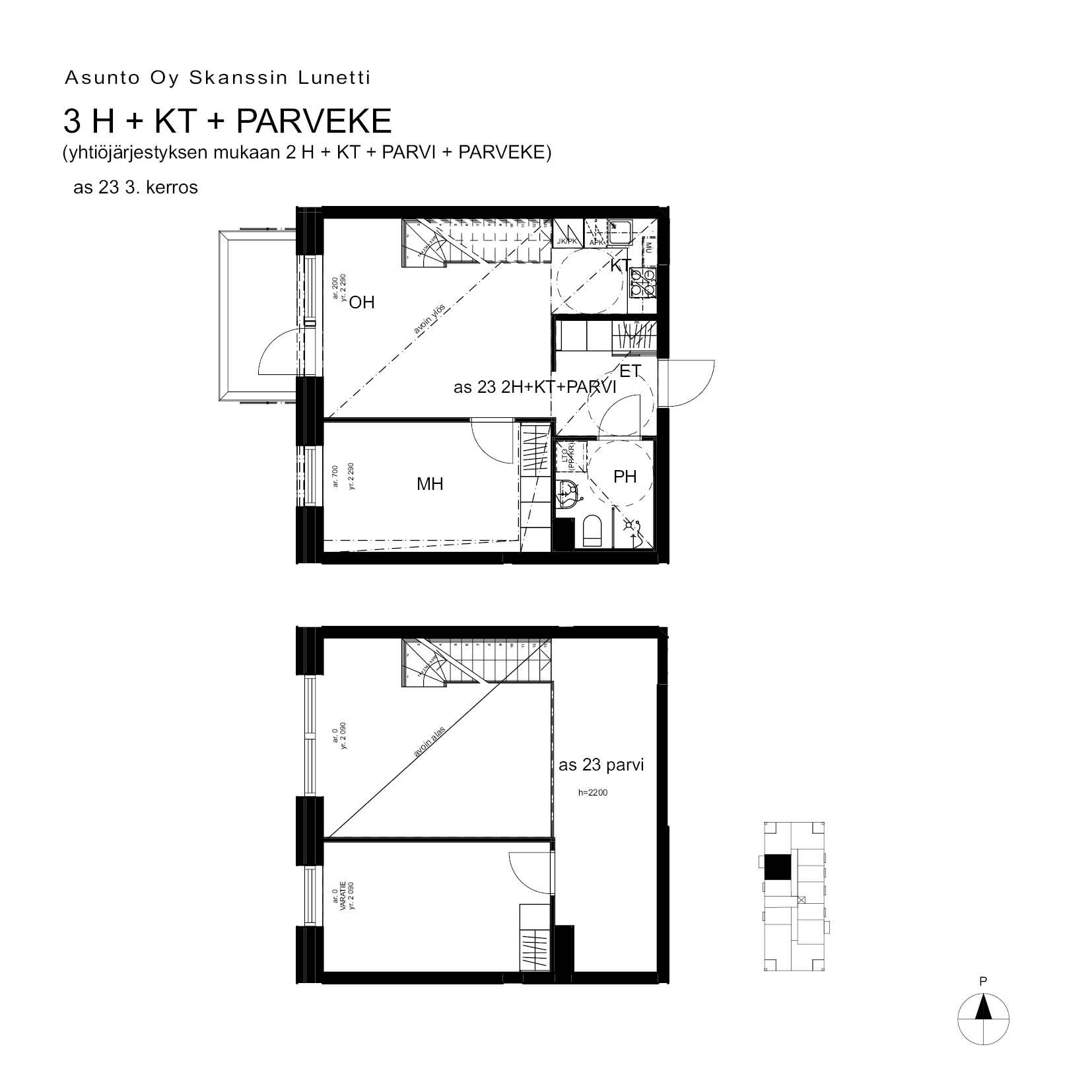 A23, 68.5 m<sup>2</sup>, 2H+KT+PARVI+parveke
