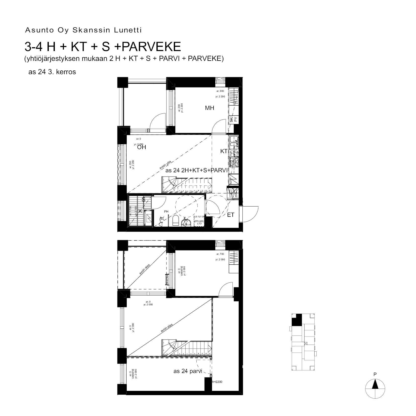 A24, 75.0 m<sup>2</sup>, 2H+KT+S+PARVI+parveke