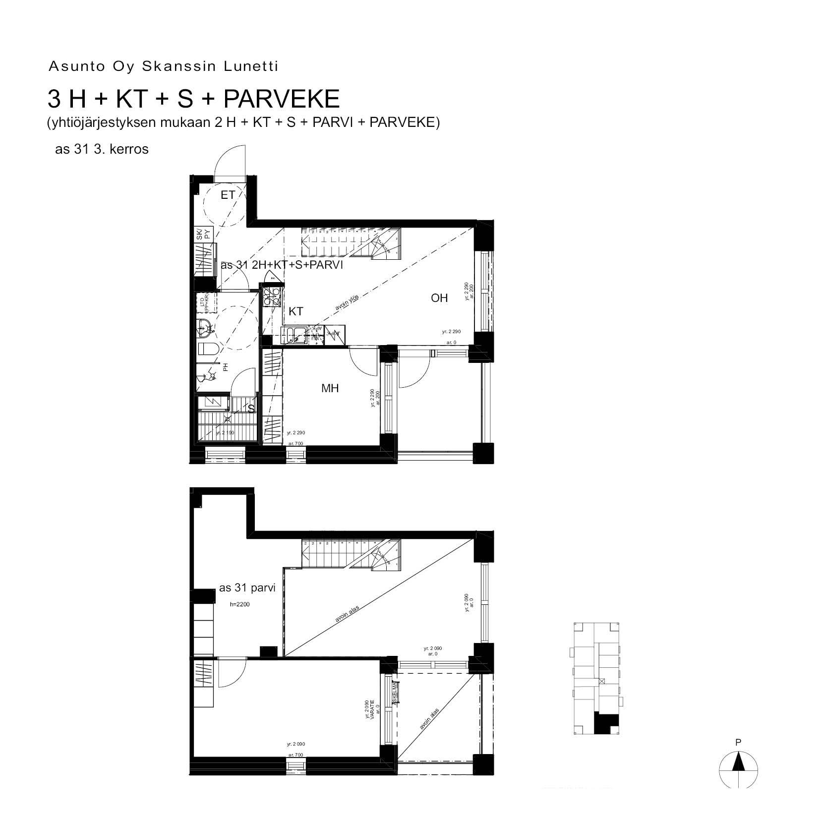 A31, 75.5 m<sup>2</sup>, 2H+K+S+PARVI+parveke