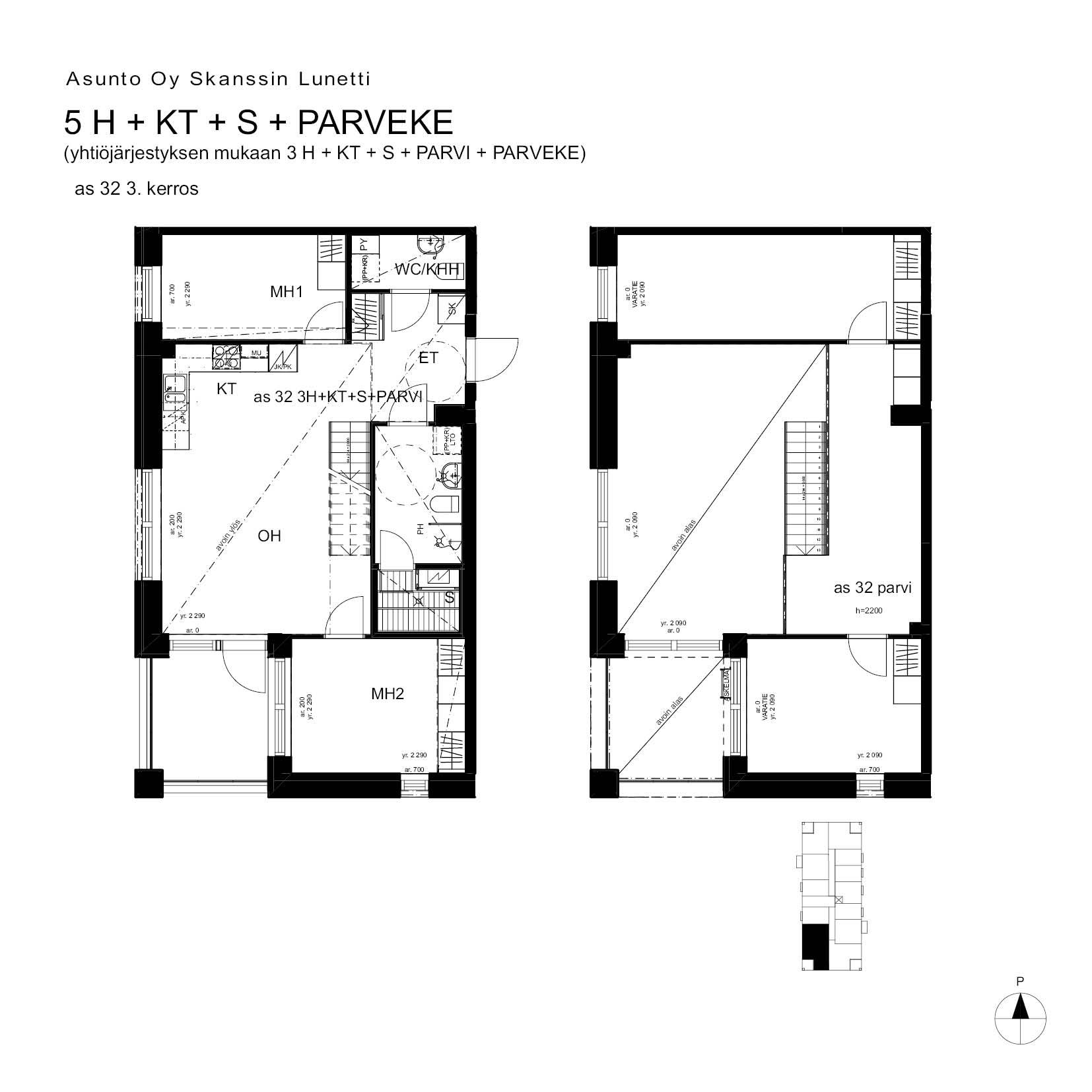 A32, 107.0 m<sup>2</sup>, 3H+KT+S+PARVI+parveke